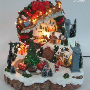 Paesaggio animato con Babbo Natale