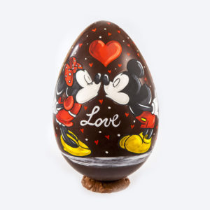 Chocolate painted egg Minnie and Mickey Mouse